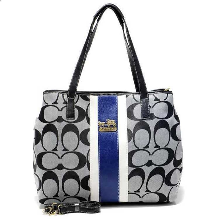 White Black Poppy Handbag Coach