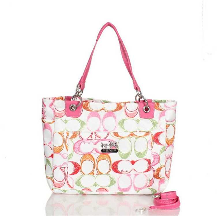 Coach White Pink Poppy Bag