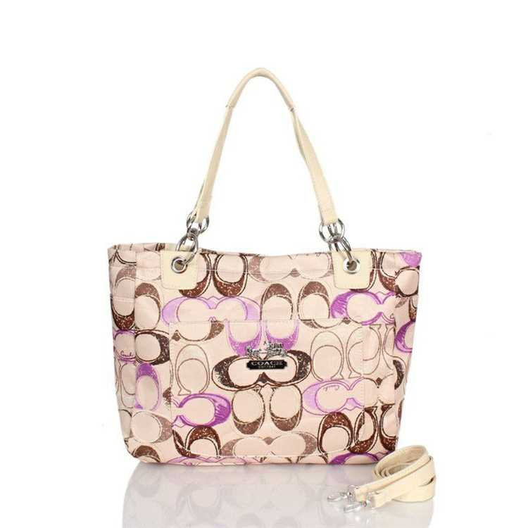 Coach Beige Purple Poppy Bag