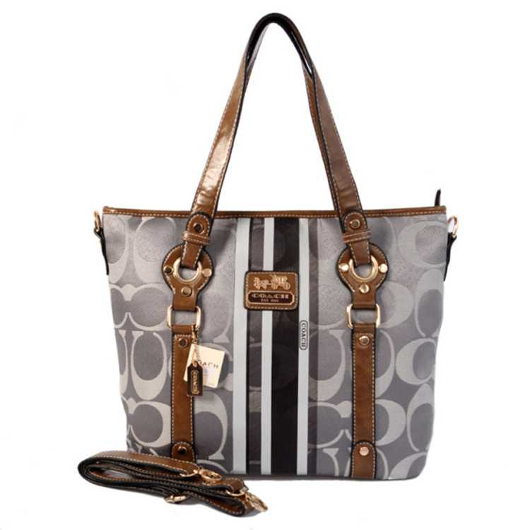 Gray Brown Coach Poppy Bag