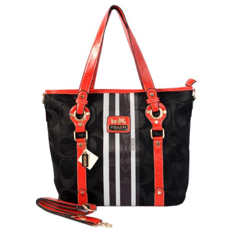 Red Black Coach Poppy Bag