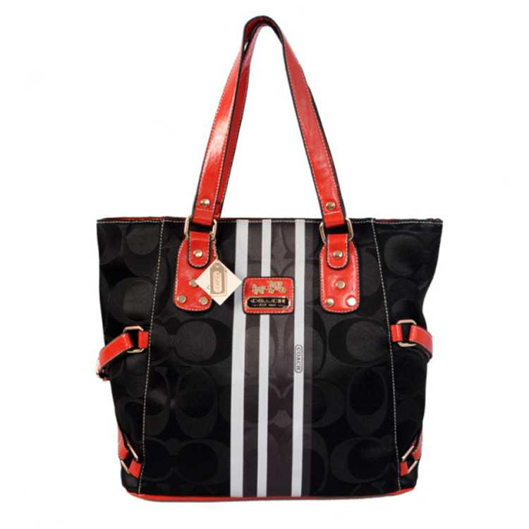 Coach Poppy Red Black Bag