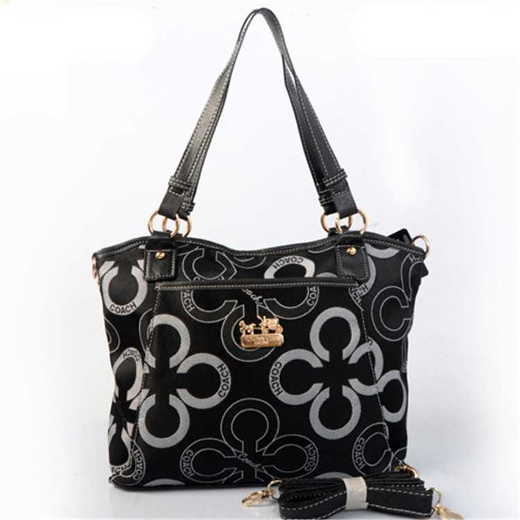 Coach Poppy Bag White Black