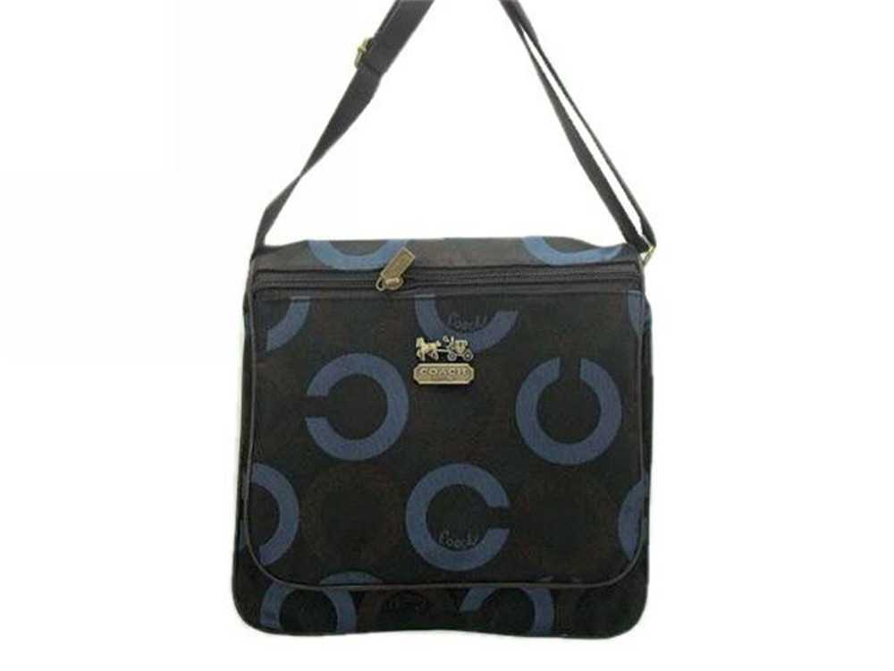 Coach Circle Black Blue Shoulder Bag