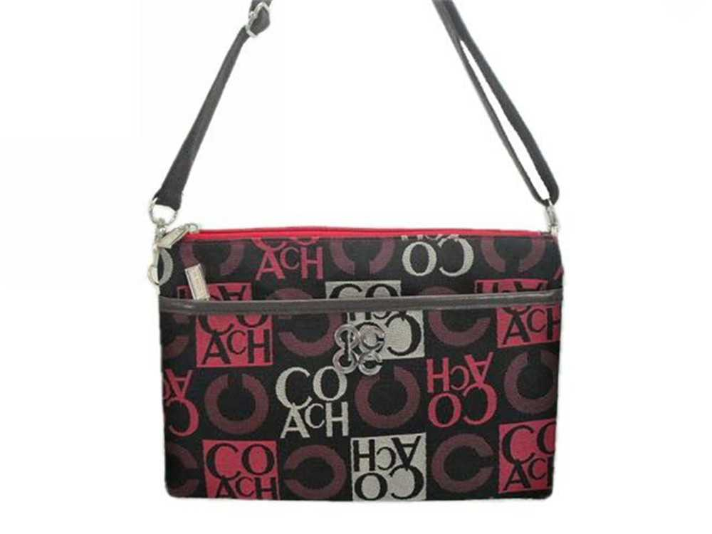 Red Black Coach Shoulder Bag