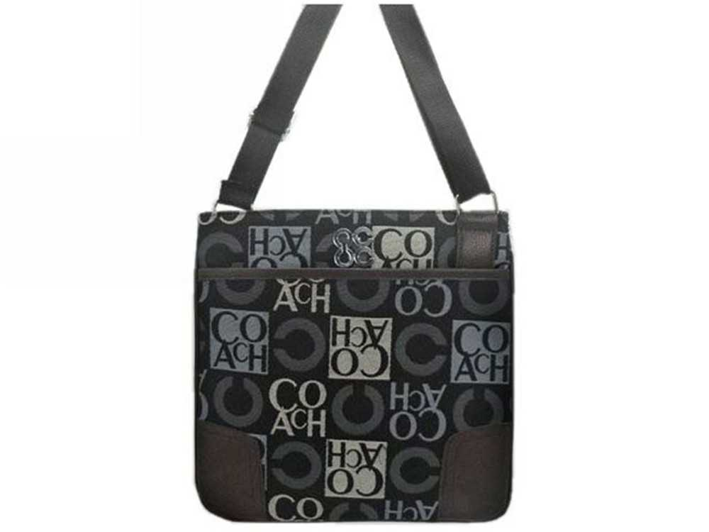 Chocolate Grey Coach Shoulder Bag