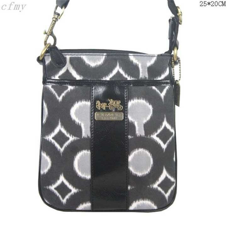 Coach Shoulder Gray Black Bag