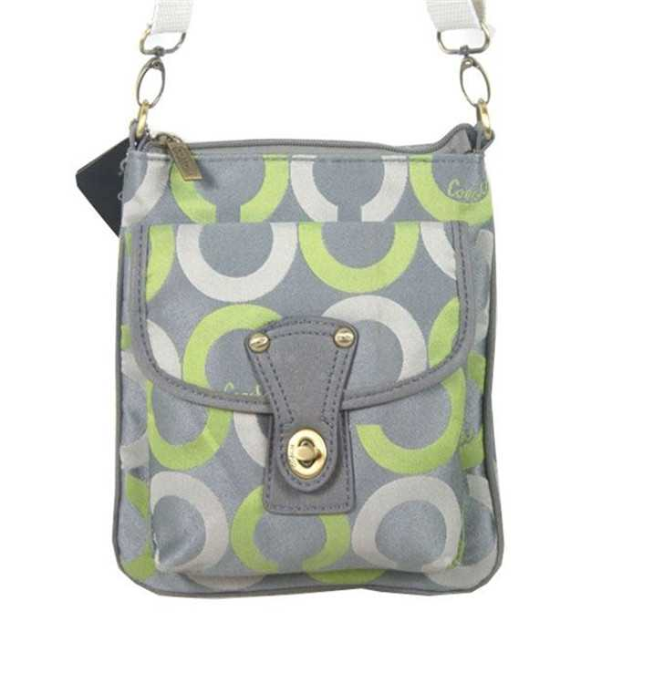 Coach Circle Gray Green Shoulder Bag
