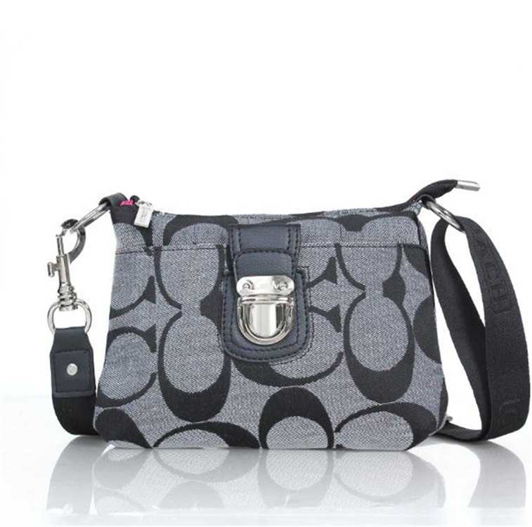 Coach Gray Black Shoulder Handbag