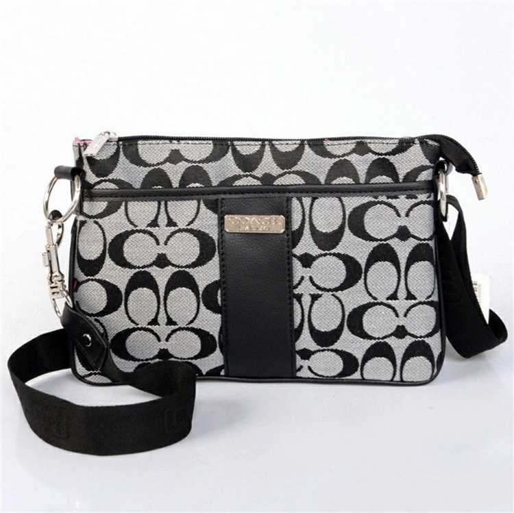 Coach Shoulder Black Gray Handbag