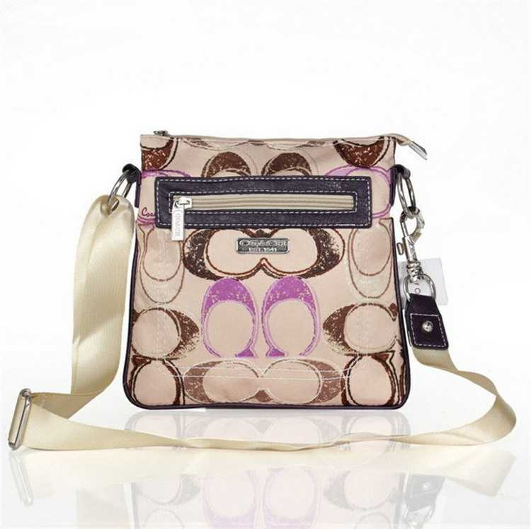 Coach Brown Purple Shoulder Handbag