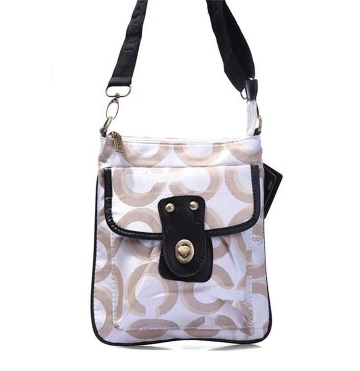 Brown White Shoulder Bag Coach