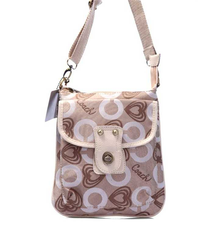 Shoulder Coach Bag Apricot White