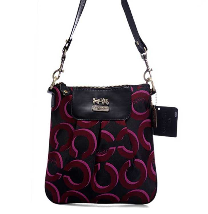 Shoulder Coach Bag Black Red
