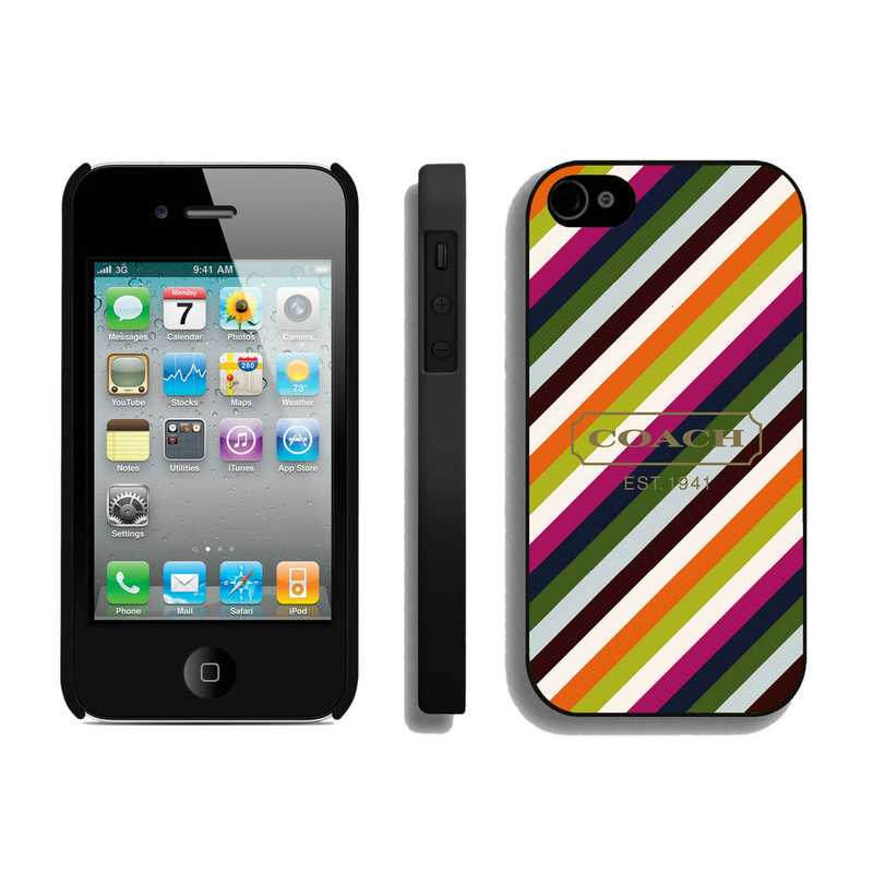 Coach Stripe Multicolor iPhone 4 4S Cases AUB