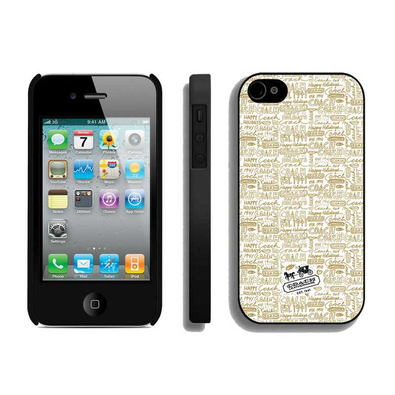 Coach Fashion Logo Khaki iPhone 4 4S Cases AUC