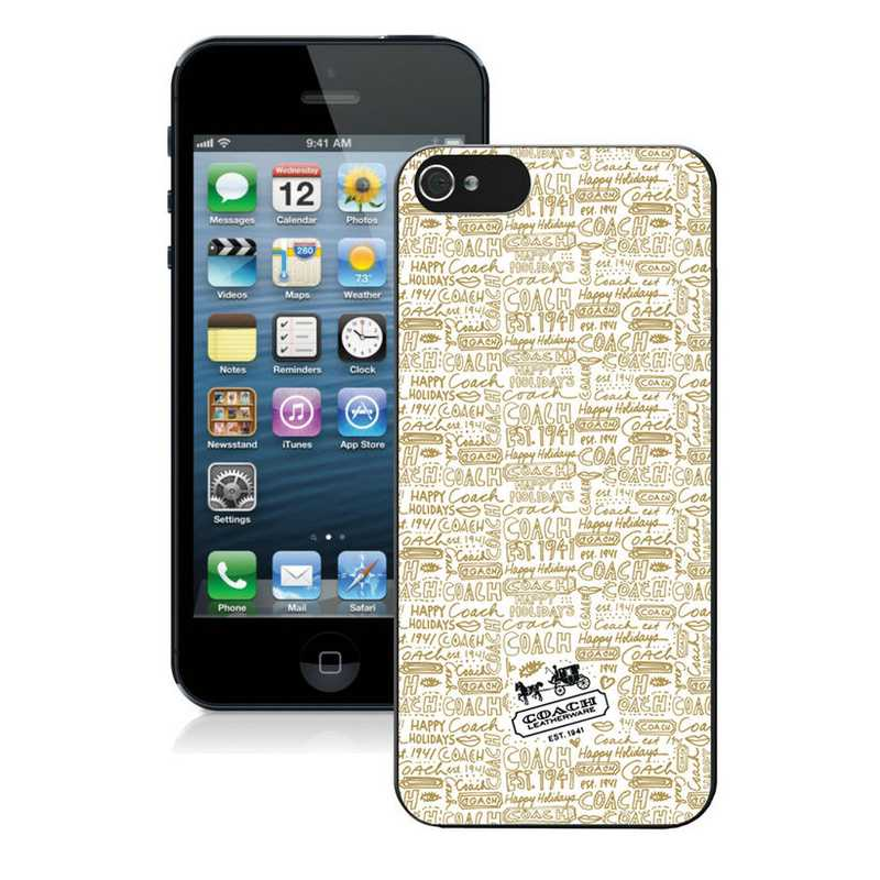 Coach Fashion Logo Khaki iPhone 5 5S Cases AUI