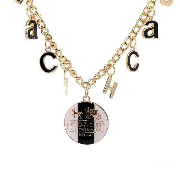 Coach Logo Float Gold Necklaces CYK