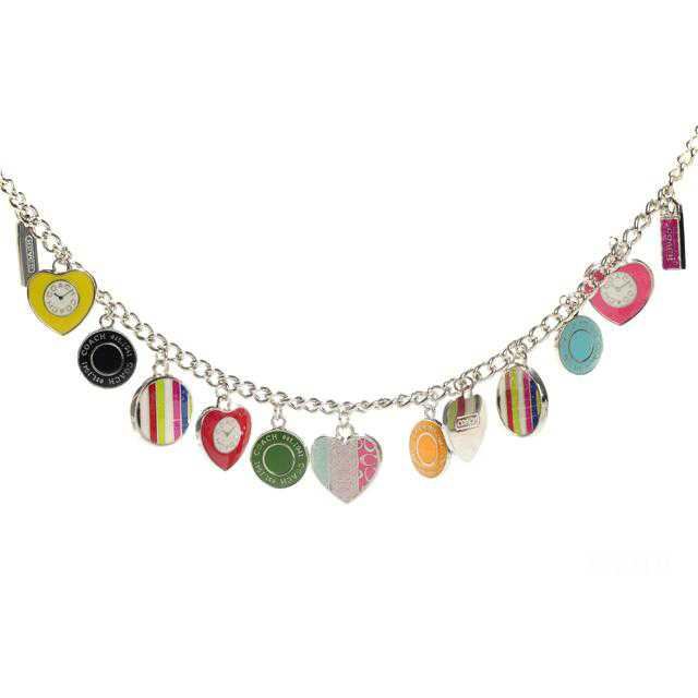 Coach Heart Circle Silver Necklaces CYZ