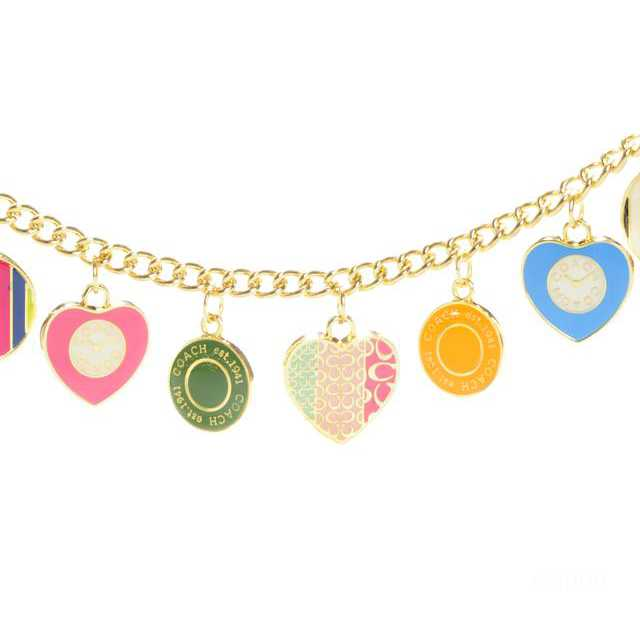 Coach Heart Circle Gold Necklaces CZA