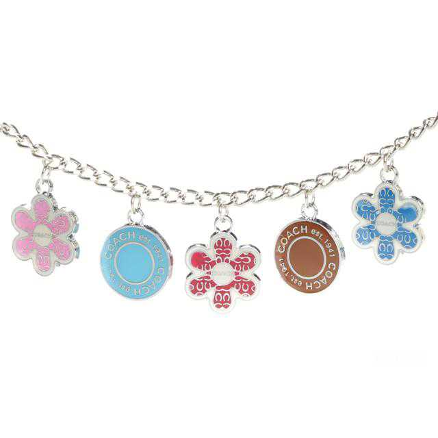 Coach Flower Circle Silver Necklaces CZG