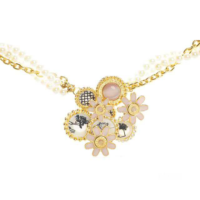 Coach Flower Pearl Gold Necklaces CZI