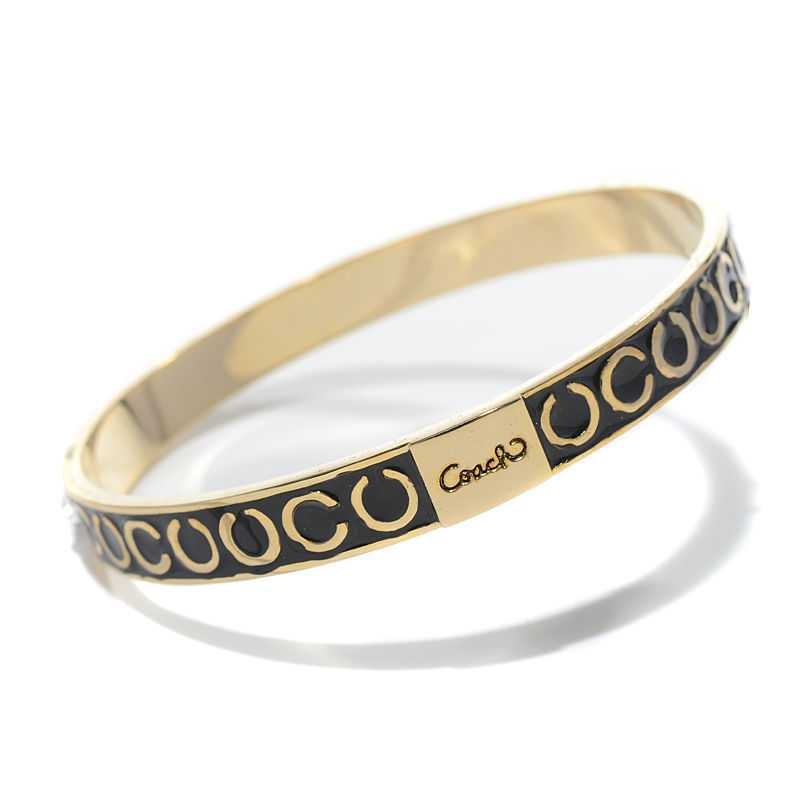 Coach Thin Op Art Pave Black Bracelets BZU