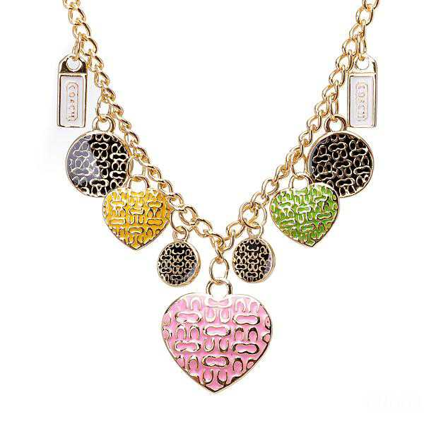 Coach Heart Circle Gold Necklaces CYY